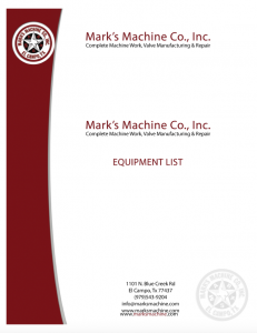 Download Mark's Machine equipment list